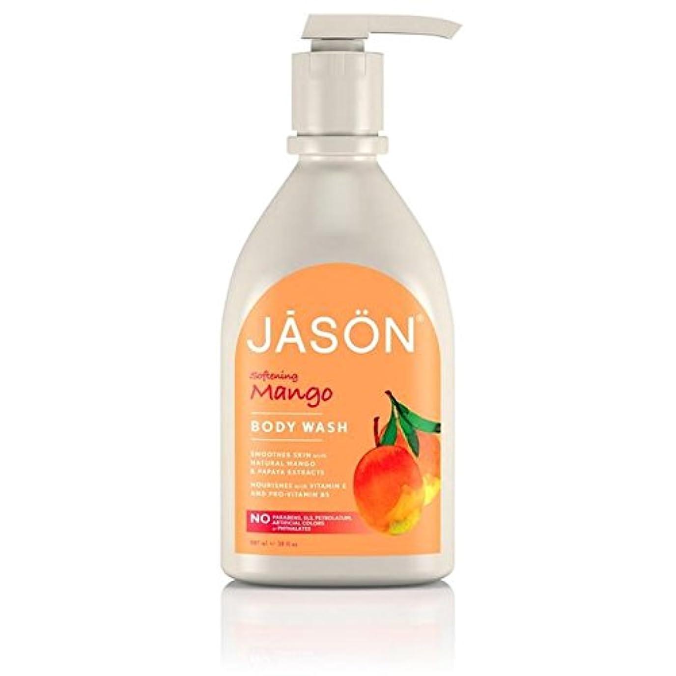 スピーチジャム岩ジェイソン?マンゴーサテンボディウォッシュポンプ900ミリリットル x4 - Jason Mango Satin Body Wash Pump 900ml (Pack of 4) [並行輸入品]