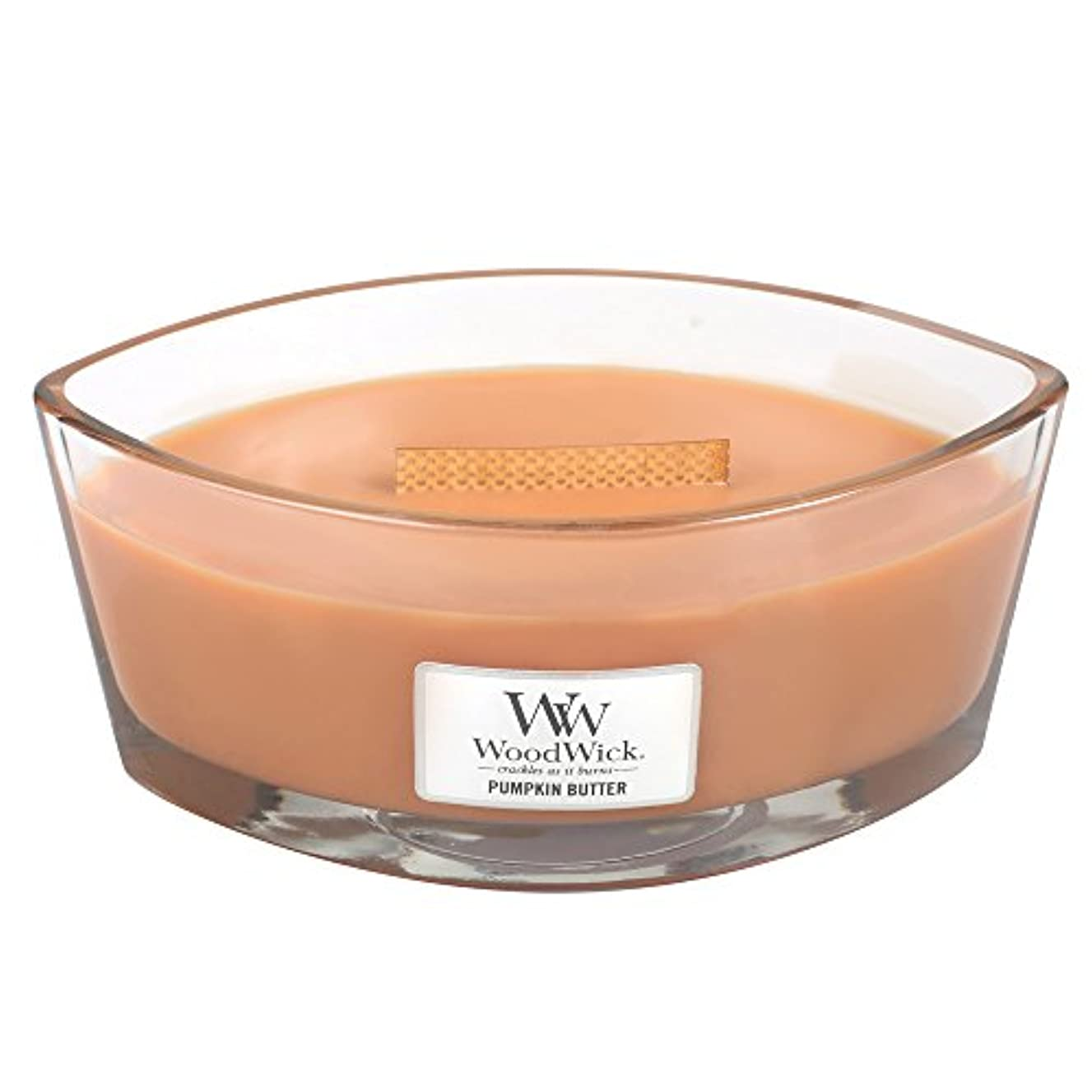 職業課す重荷Woodwick PumpkinバターHearthWick Flame Large Scented Candle