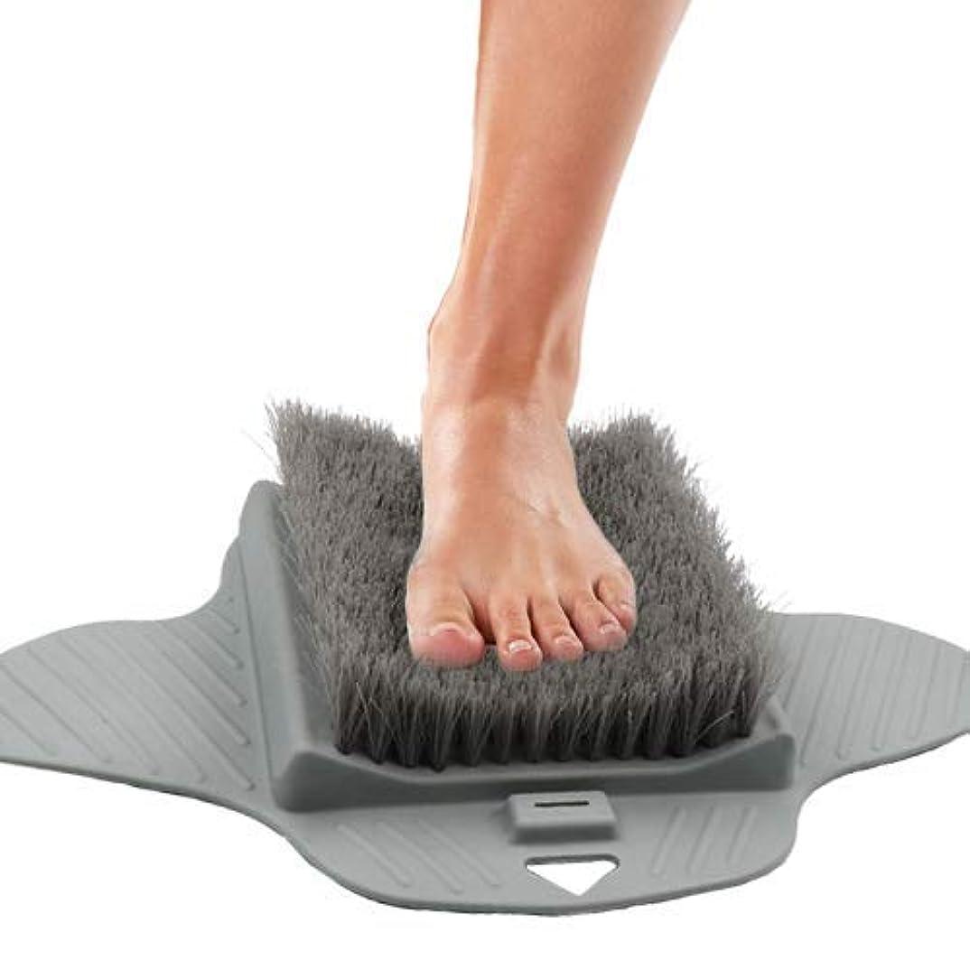 雑草元気な操作Jhua 足の裏とカルスを掃除するためのシャワーフットスクラバーバスタブフロアブラシ-滑り止め吸引カップ、指圧マッサージマットフットクリーナー