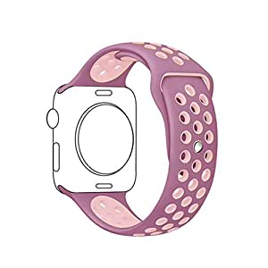 METEQI For Apple Watch Band シリカゲルバンド スポーツシリコンストラップリストバンド交換バンド柔らか運動型 M/L Series 3/2/1 (38MM, バイオレットダスト/プラムフォッグ)