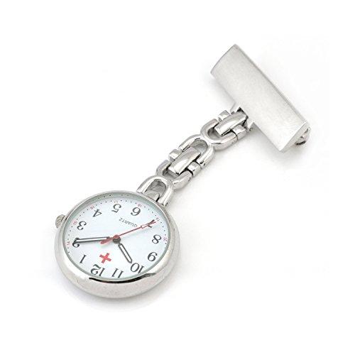WOLFTEETH ナースウォッチ ポケットウォッチ 逆さ文字盤 アンティーク クオーツ スプリングバネ付き 時計 シルバー 305701
