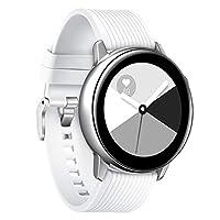 Comtax for Samsung Galaxy Watch Active ベルト 交換用バンド 柔らかいシリコン製 スポーツストラップ 多色選択 調整可能 対応Samsung Galaxy Watch Active (L, ホワイト)