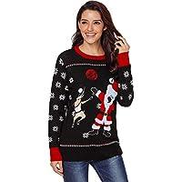 SZIVYSHI Long Sleeve Festival Christmas Santa Fair Isle Reindeer Snowflake Pullover Sweater Jumper Top