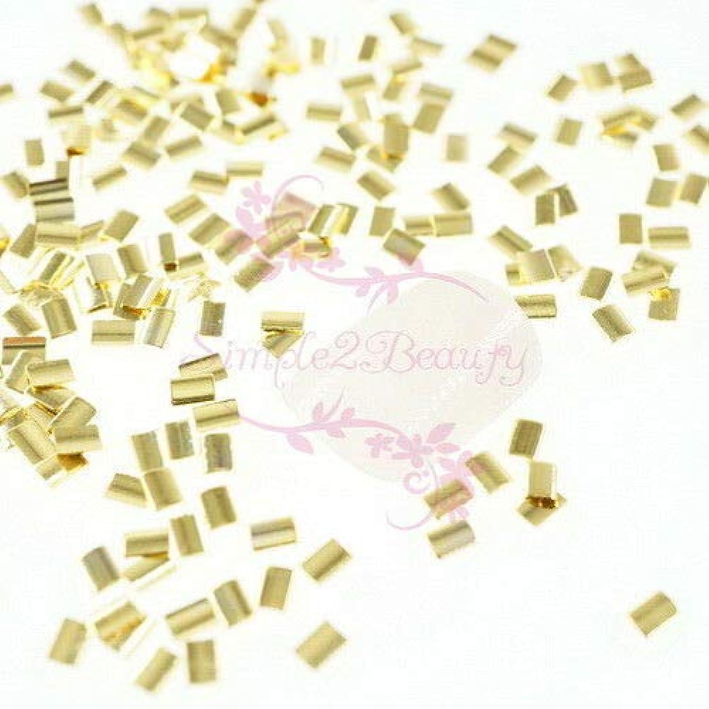 FidgetGear 500 Rectanlge和風メタリックリベットスタッドネイルアートマニキュアDIYの装飾 ゴールド