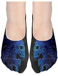 女性の青い頭蓋骨の低合金ローカットコットンボート隠し目に見えない靴下