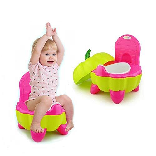 ベビー おまる 子供 トイレ トレーニング 補助便座 6ヶ月~3歳 洋式 携帯 イス型オマル 背もたれ/ふた付 洗いやすい しっかり 可愛い カボチャ(ローズ)