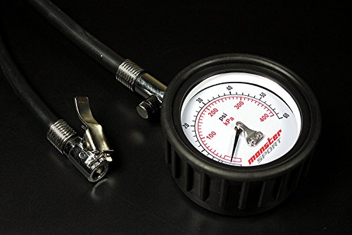 MONSTER SPORT エアゲージ 白/カー用品 自動車 バイク オートバイ 自転車 マウンテン BMX 内圧 空気圧 測定器/993120-0000MW