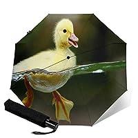 黄色いアヒル 自動三つ折り傘 8骨無地三つ折り傘 ボタンスイッチ 高密度防水耐久性のある高品質 防風ユニセッ傘自動スイッチ折りたたみ傘を運ぶのは簡単