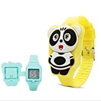 GUANHAO 子供用腕時計 パンダ フリップカバー 動物 可愛い 数字 女の子 男の子 小学生 萌え萌え 腕時計 (イエロー)