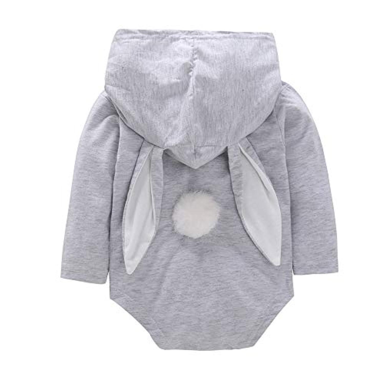 ベビーロンパース 女の赤ちゃん ロングウサギちゃんの耳 長袖パーカー 可愛い コスチューム フード付きロンパースポケット衣装 (80 6-12月, グレー)