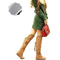 [Florai-JP] レディース ブーツ 長靴 大きいサイズ 裏起毛 インヒール 美脚 レースアップ 折り返し 膝丈 おしゃれ あったか 歩きやすい 可愛い コスプレ ニーハイブーツ カジュアル 黒 ブラウン キャメル 冬