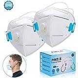 マスク 使い捨て マスク 立体 ますく 頭掛け ふつうサイズ PM2.5対応 排気弁付き 個包装 20枚入れ ホワイト