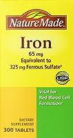 ネイチャーメイド アイロン 65mg 【鉄分65mg】 Nature Made Iron 65mg, Equivalent to 325 mg Ferrous Sulfate - 300 Tablets