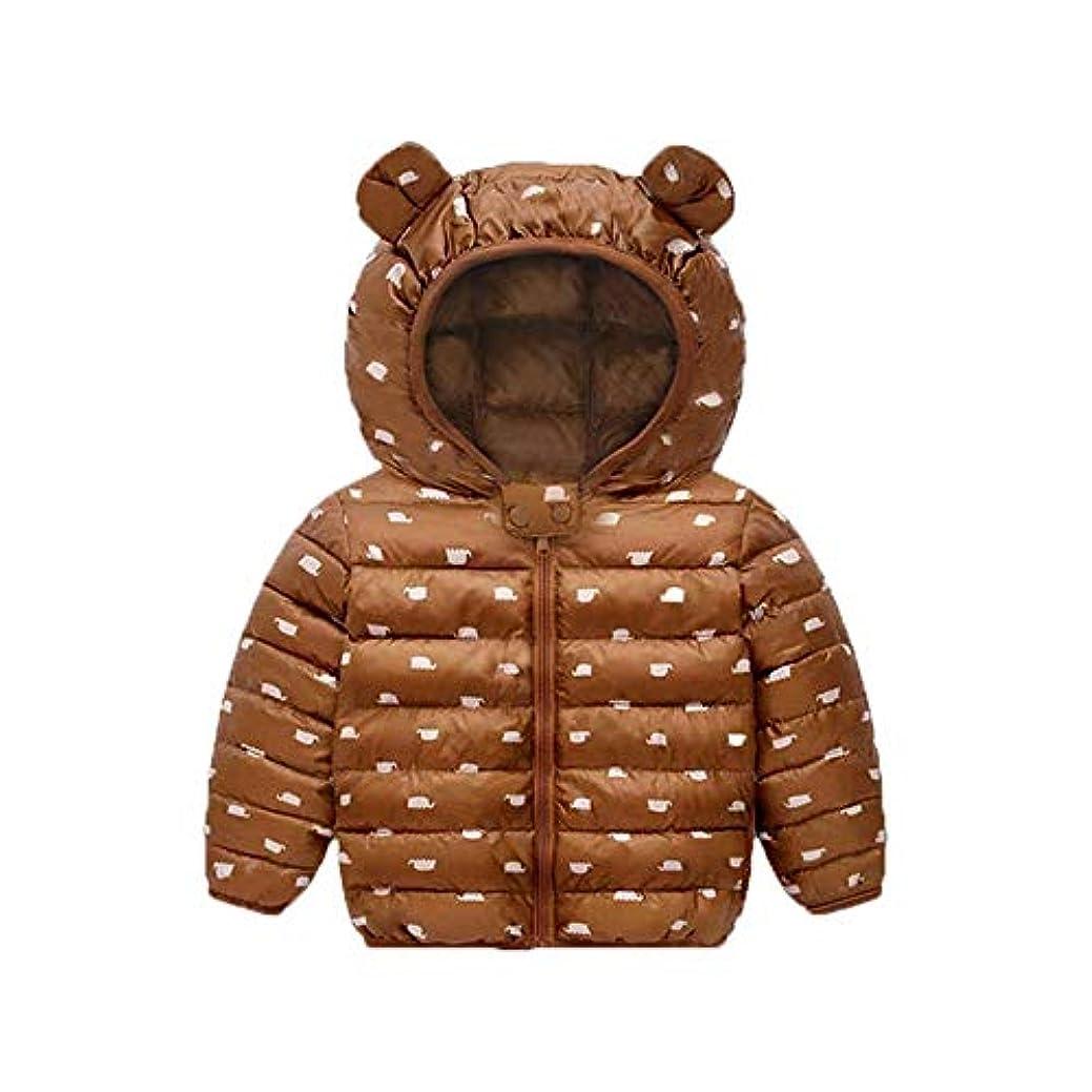 うまれた含意熱帯のフード付き子供用冬ジャケット 秋と冬の新男の子の赤ちゃんライトフード付きコットンの服男性と女性の子供の漫画のコットンコート (Color : Brown, Size : 120cm)