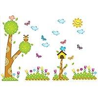 ツリーフクロウ蝶壁デカール家のステッカー紙スクラッチアートピクチャーdiy壁画キッズ保育園ベビールームテレビの背景装飾