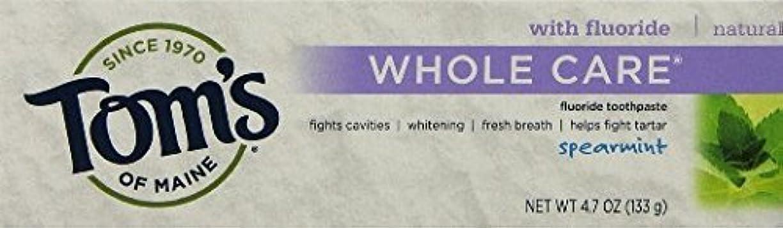 待って出力薬用Tom's of Maine Whole Care Toothpaste with Flouride Flavor 4.7 Ounce Tube (Pack of 3 (SPEARMINT) by Tom's of Maine