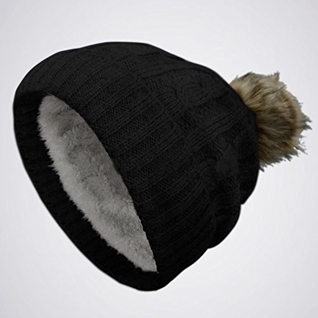 と祭り頑固なブラック厚手ポンポンニットSlouchyバギービーニーOversize冬帽子スキーキャップスカルレディース