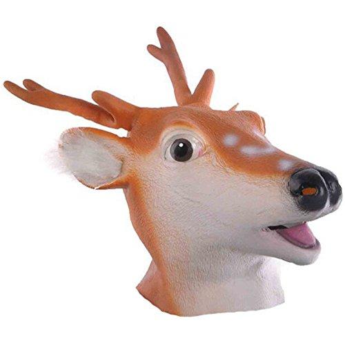 QUEENSHINY(クイーンシャイニー) アニマルマスク 天然ゴム ラテックス製 動物変装マスク 仮装パーティー (鹿)