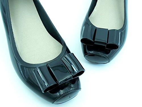 【ROOM28】 完全 防水 立体 リボン レイン パンプス 3.5cm ヒール 晴れの日も使える おしゃれ デザイン ! きれいめ スクエア トウ 通勤 通学 に ぴったり 雨 用 長靴 レディース シューズ 靴 (黒 ブラック, M ( 23.5cm ))