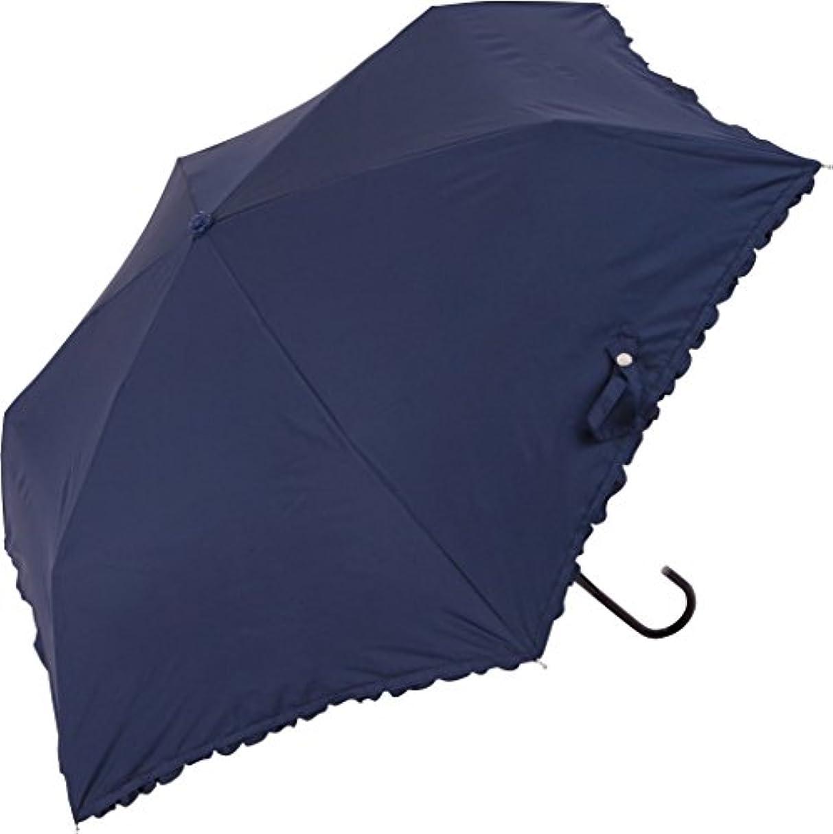 絞る獣可聴because(ビコーズ) 折りたたみ傘 手開き 日傘/晴雨兼用傘 遮光 遮熱 フリル 全3色 ネイビー 6本骨 47cm UVカット 95%以上 軽量 BE-09719