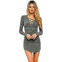 Misaky Women's Fall Mini Dress,Up Long Sleeved Elasticity Cotton Dresses Bodycon