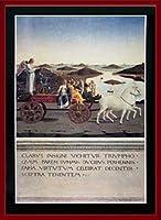 ポスター ピエロ デラ フランチェスカ- Trionfo Di Federigo Da Montefeltro 額装品 ウッドベーシックフレーム(レッド)