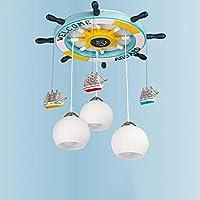 天井照明地中海木製クリエイティブ漫画ラダー子供の部屋のベッドルーム、2つのサイズのオプション-省エネ