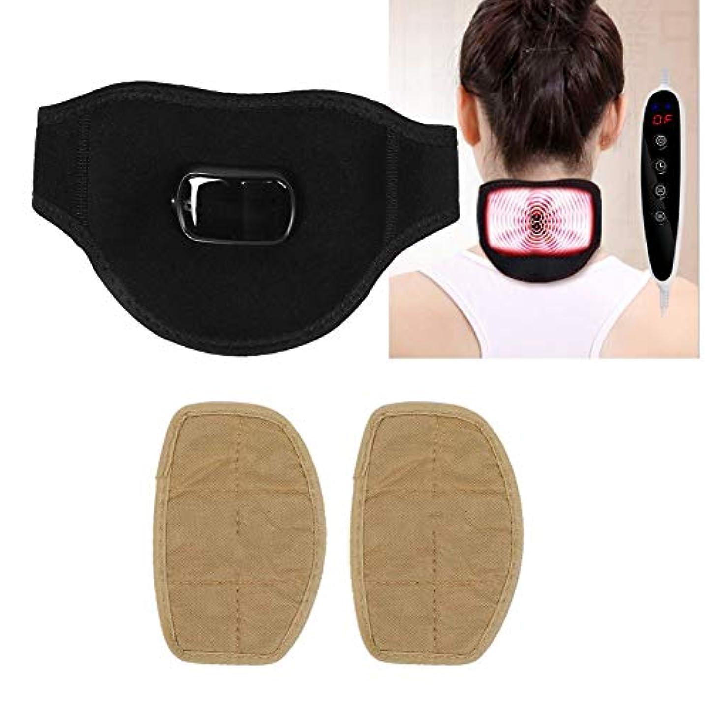 情報ペインティング軍電動肩マッサージャー、USBヘルスを加熱するためのm付きの温かい首サポート、首の損傷または痛みに適しています