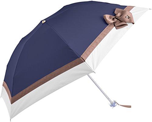 (ランバン オン ブルー)LANVIN en Bleu 晴雨兼用 日傘 【遮熱&遮光】 折りたたみ 50cm ビジュー付き大リボン