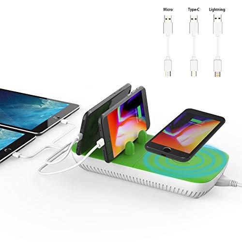 ワイヤレス充電器 MIABOO USB充電ステーションドック usb充電器 急速 5台同時充電 iPhone XS/XS Max/XR /8 Plus/8/ Android、GalaxyS9 / S9+ / S8 / S8+、Nexusなど各種対応