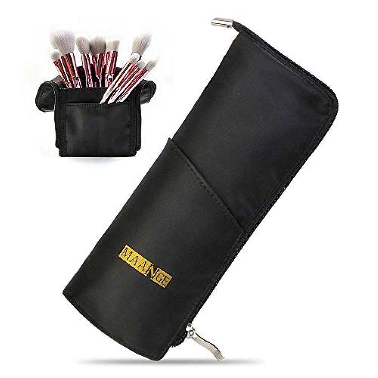 一生適切なMAANGEメイクブラシケース ペンケース 化粧筆ポーチ メイクポーチ 多機能収納バッグ 筆箱 小物入れ メイクブラシホルダー旅行 化粧バッグ(ブラック)