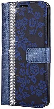 CUNUS Galaxy S8 用 ウォレット ケース, プレミアム PUレザー 全面保護 ケース 耐衝撃 スタンド機能 耐汚れ カード収納 カバー, ブルー