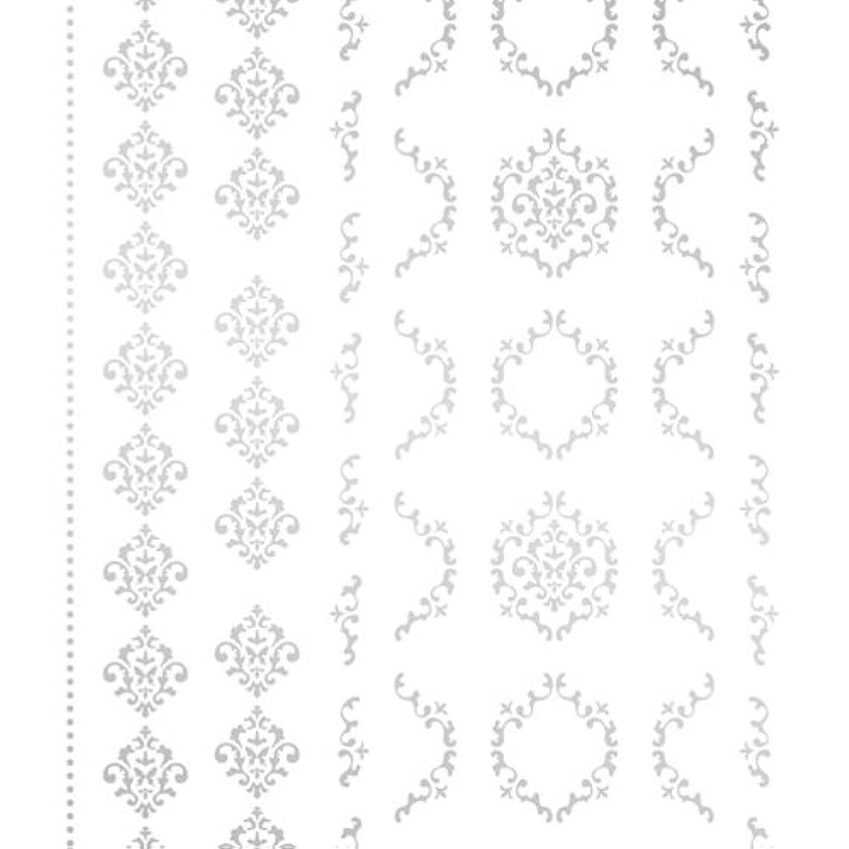 ポスター復活ダルセットツメキラ(TSUMEKIRA) ネイル用シール agehaダマスクM シルバー SG-AGE-103