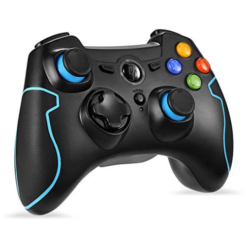 【ワイヤレスコントローラー】EasySMX ESM-9013 2.4Gワイヤレスゲームコントローラー 振動フィードバック 連射機能 PS3/Androidスマホ/Androidタブレット/Windows PCに対応(ブラック+ブルー)