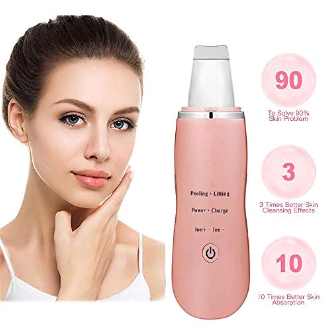 争いきつく計算する肌研削顔の皮膚超音波クレンジングシャベル、にきびにきび深いクレンジング毛穴汚れUSB充電式防水毛穴クリーナーフェイシャルリフティングツール (Color : ピンク)