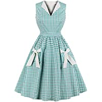 Wellwits Women's Lapel V Neck Plaid Pocket 1940s 1950s Vintage Swing Dress