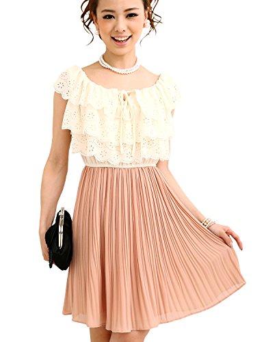 プールヴー ドレス ワンピース パーティードレス 結婚式 二次会 レディース アイボリー&サーモンピンク XLサイズ 13号