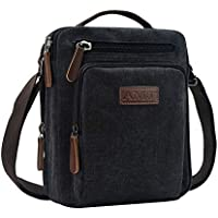 AMJ Small Canvas Messenger Bag, Crossbody Shoulder Bags Vertical Satchel Purse for Travel Work Business Men Women, Black