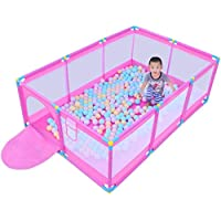 大型ポータブルベビーキッズPlaypen 8 Panel、Child Boys女の子の遊びPen Room Divider with Balls Oxford Cloth (色 : Pink)