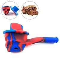 ライフ小屋 シリコーンパイプ 迷彩パイプ ドクロ 便携式 喫煙パイプ クリエイティブ シリコン パイプ タバコ用 (ブルー)