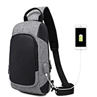 Wukong Men Canvas Chest Bag with USB Charging Port Crossbody Backpack For Outdoor