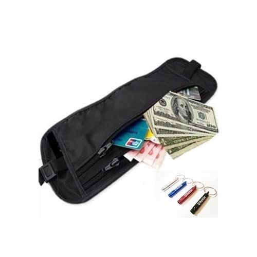D'Kotte (ディーコッテ) 安心第一 シークレット ウエストポーチ 黒色 海外旅行 防犯対策 パスポート入ります。ウエストバッグ 便利 安心 防犯ホイッスル(笛)セット