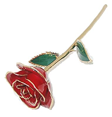ZJchao Love Forever Long Stem 24K Gold Foil Trim Red Rose Flower, Best Gift For Valentine'S Day, Mother'S Day, Anniversary, Birthday Gift