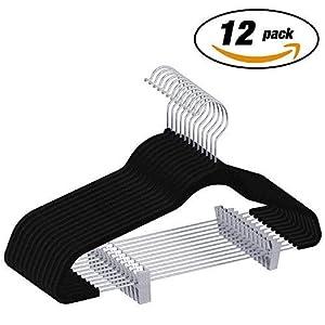 IEOKE ズボンハンガー スカート 強力クリップ 頑丈 洗濯 物干し 多機能 衣類ハンガー 省スペース 跡がつかない 12本セット (ブラック)