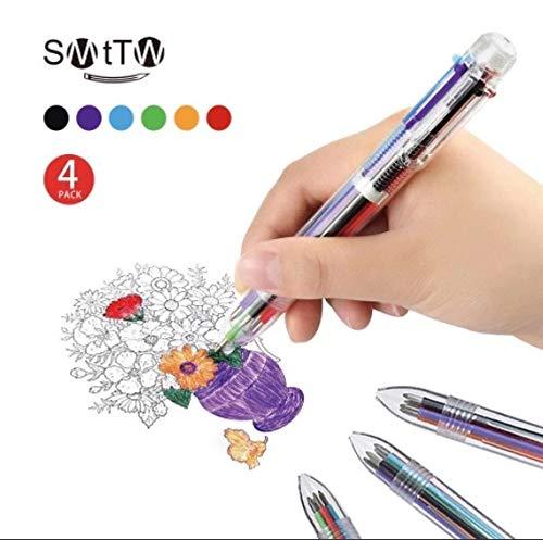 SMTTW 6色ボールペン 多色ボールペン 筆記具 文房具 多機能ペン 油性 0.5 4本