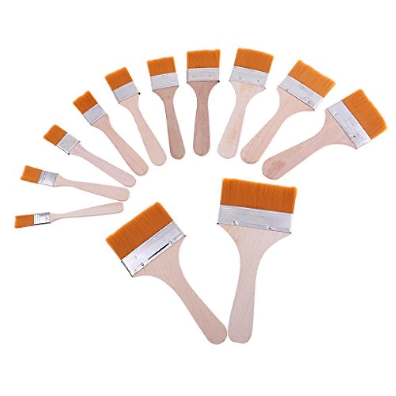 Kesoto 12個 BGAフラックスペーストブラシ 木製ハンドル モデル接着剤 塗料ブラシ ホビー用工具