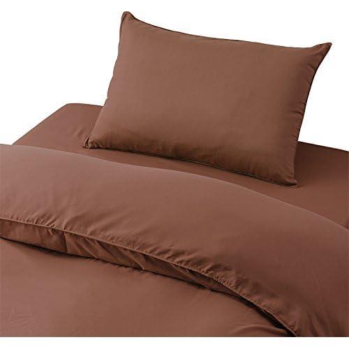 布団カバー 3点セット シングル 掛け布団 敷き布団 枕 (チョコレートブラウン)