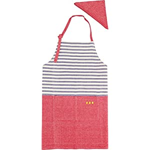 GV エプロン 子供用 三角巾付き ミシュラン キッズエプロン ブルー 539083