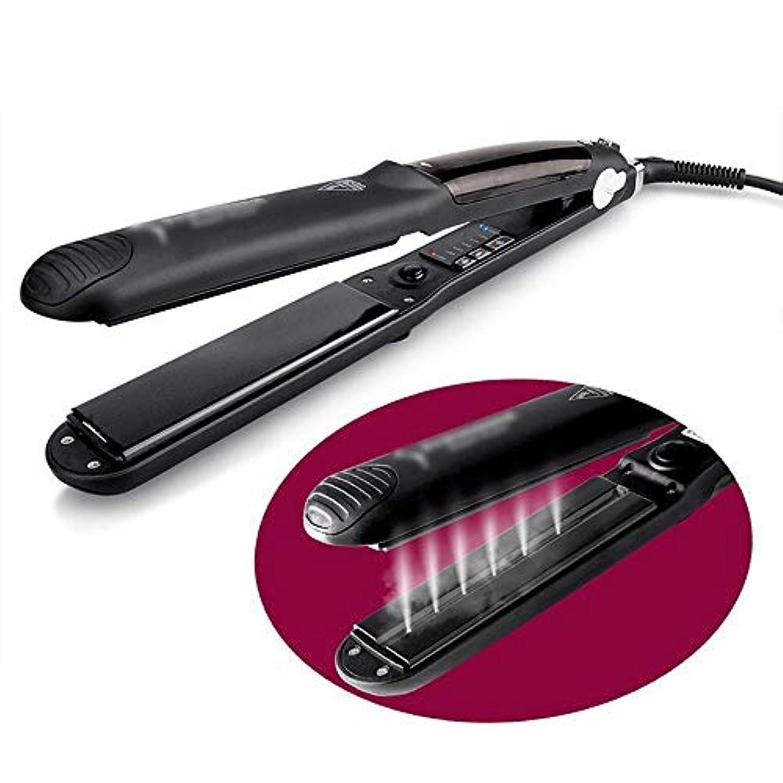 疎外する月シェルVDGHA ストレートヘアアイロンウェット&ドライ使用縮毛矯正プレート2は、1髪カーラープロフェッショナルカーリングワンドセット、ヒートアップヘアーカーラーにスチーム (色 : 黒)