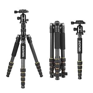 ZOMEI Q666C 三脚・一脚可変式 カーボン製 5段 コンパクト 頑丈 小型 自由雲台 アングル撮影 折りたたみ 一眼レフ ビテオカメラ デジタルカメラに対応 … … …